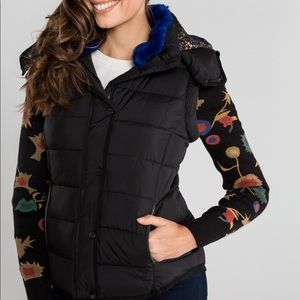 Desigual NEW Padded Pia Coat Black with Blue Faux Fur 36 2